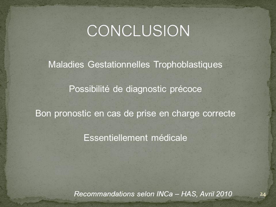 Maladies Gestationnelles Trophoblastiques Possibilité de diagnostic précoce Bon pronostic en cas de prise en charge correcte Essentiellement médicale