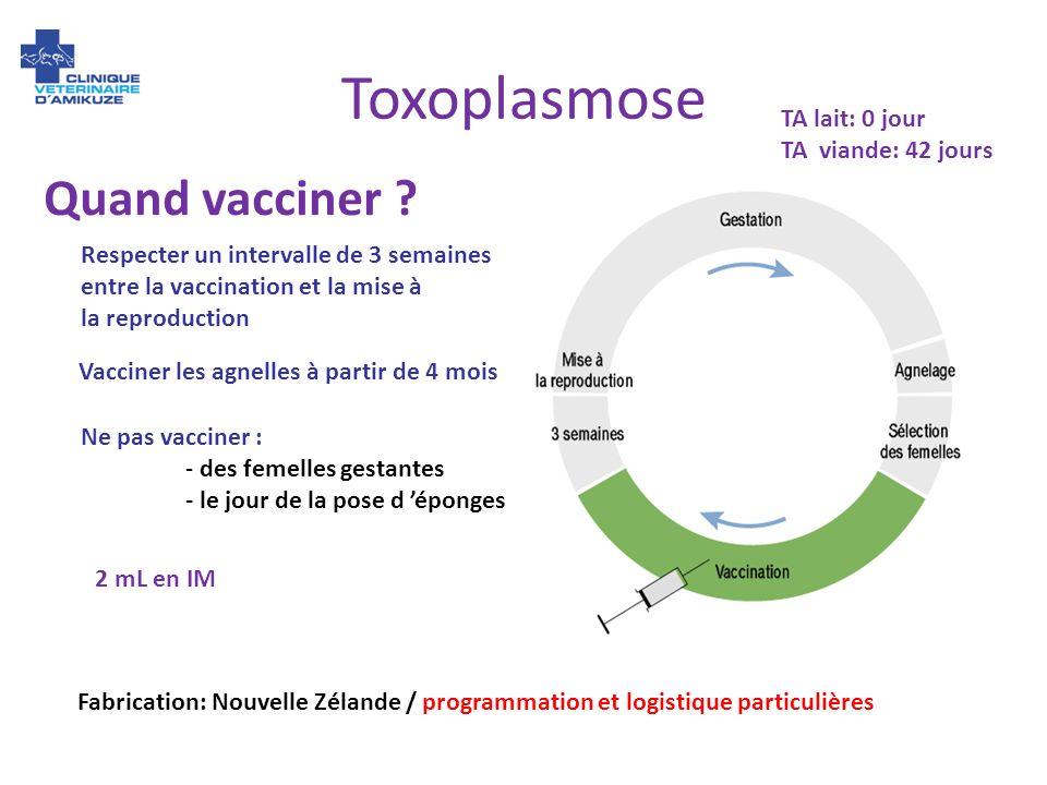 Toxoplasmose Quand vacciner ? Respecter un intervalle de 3 semaines entre la vaccination et la mise à la reproduction Ne pas vacciner : - des femelles