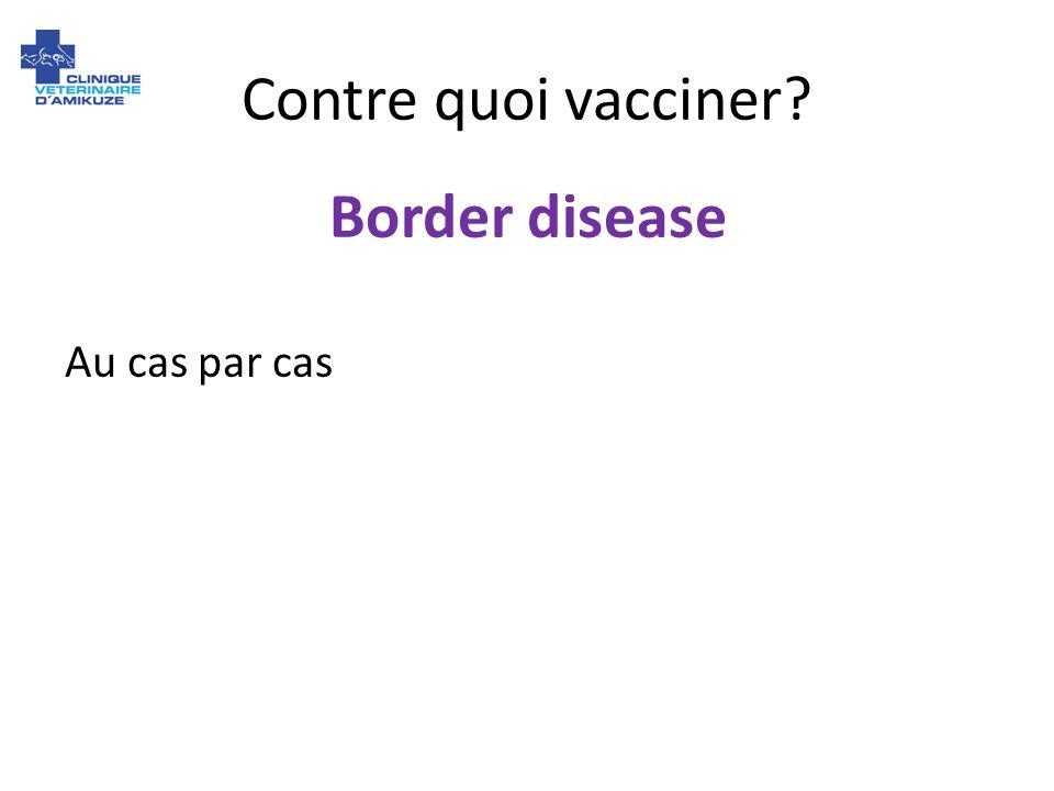 Contre quoi vacciner? Border disease Au cas par cas