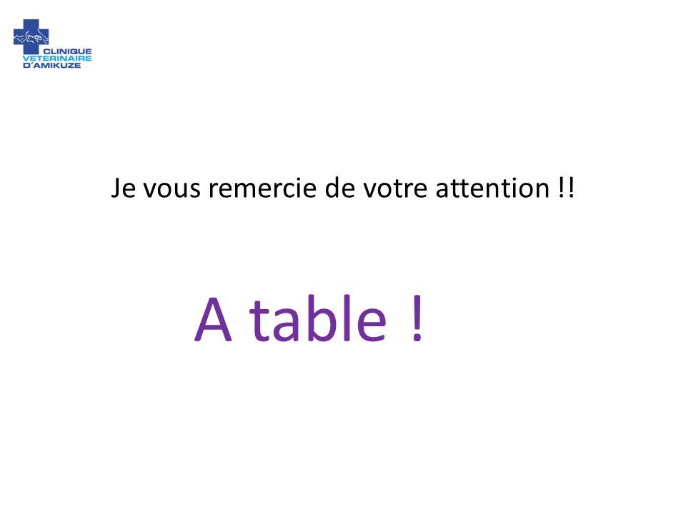 Je vous remercie de votre attention !! A table !