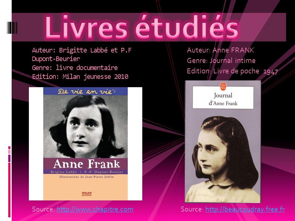 Auteur: Anne FRANK Genre: Journal intime Edition: Livre de poche 1947 Auteur: Brigitte Labbé et P.F Dupont-Beurier Genre: livre documentaire Edition: Milan jeunesse 2010 Source: http://www.chapitre.comhttp://www.chapitre.comSource: http://beaucoudray.free.frhttp://beaucoudray.free.fr