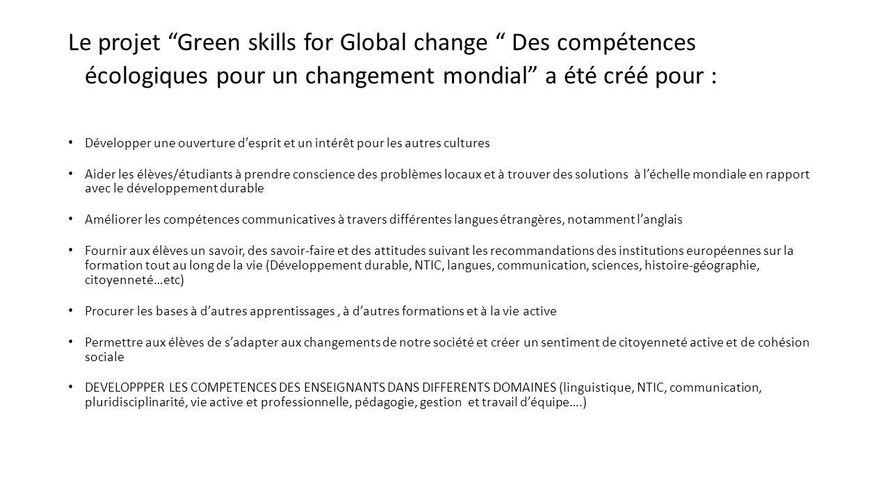 Le projet Green skills for Global change Des compétences écologiques pour un changement mondial a été créé pour : Développer une ouverture desprit et