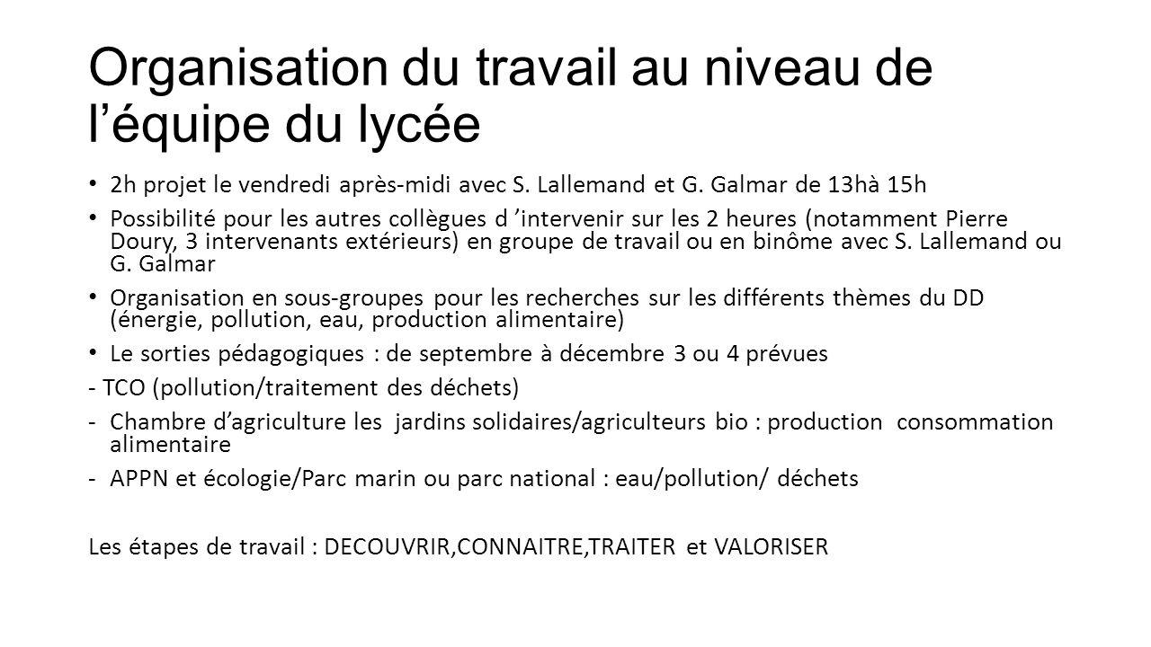 Organisation du travail au niveau de léquipe du lycée 2h projet le vendredi après-midi avec S. Lallemand et G. Galmar de 13hà 15h Possibilité pour les