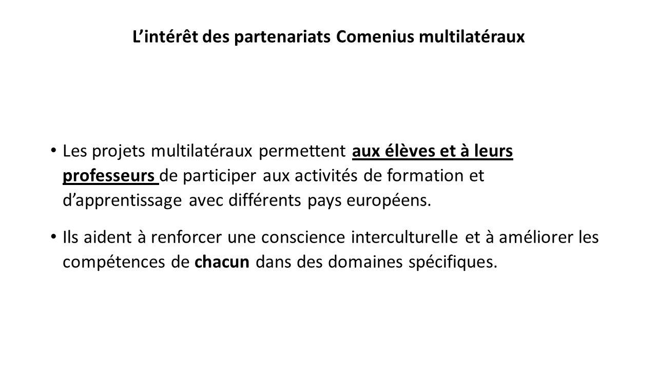 Lintérêt des partenariats Comenius multilatéraux Les projets multilatéraux permettent aux élèves et à leurs professeurs de participer aux activités de