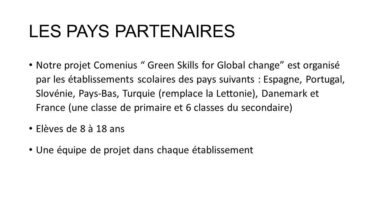 LES PAYS PARTENAIRES Notre projet Comenius Green Skills for Global change est organisé par les établissements scolaires des pays suivants : Espagne, P