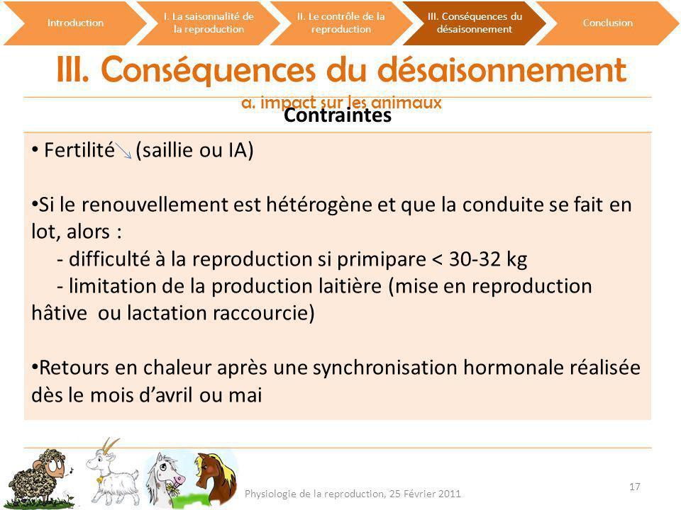 III. Conséquences du désaisonnement a. impact sur les animaux Introduction I. La saisonnalité de la reproduction II. Le contrôle de la reproduction II