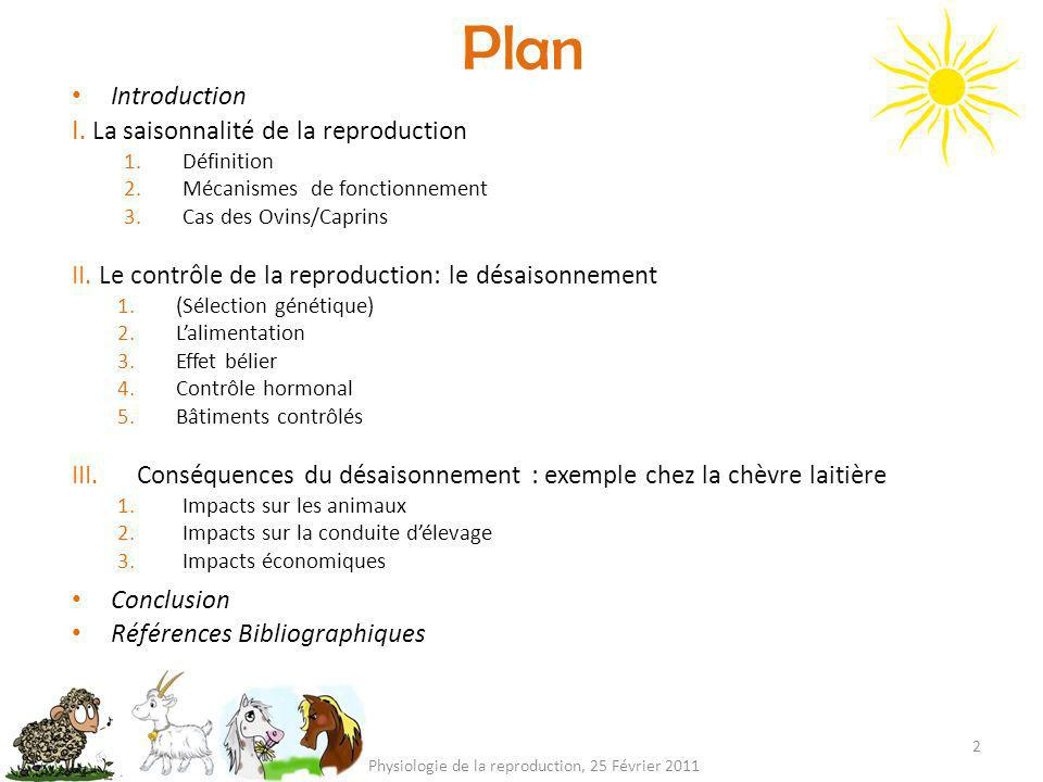Plan 2 Physiologie de la reproduction, 25 Février 2011 Introduction I.