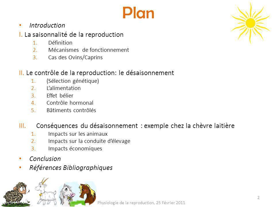 Plan 2 Physiologie de la reproduction, 25 Février 2011 Introduction I. La saisonnalité de la reproduction 1.Définition 2.Mécanismes de fonctionnement