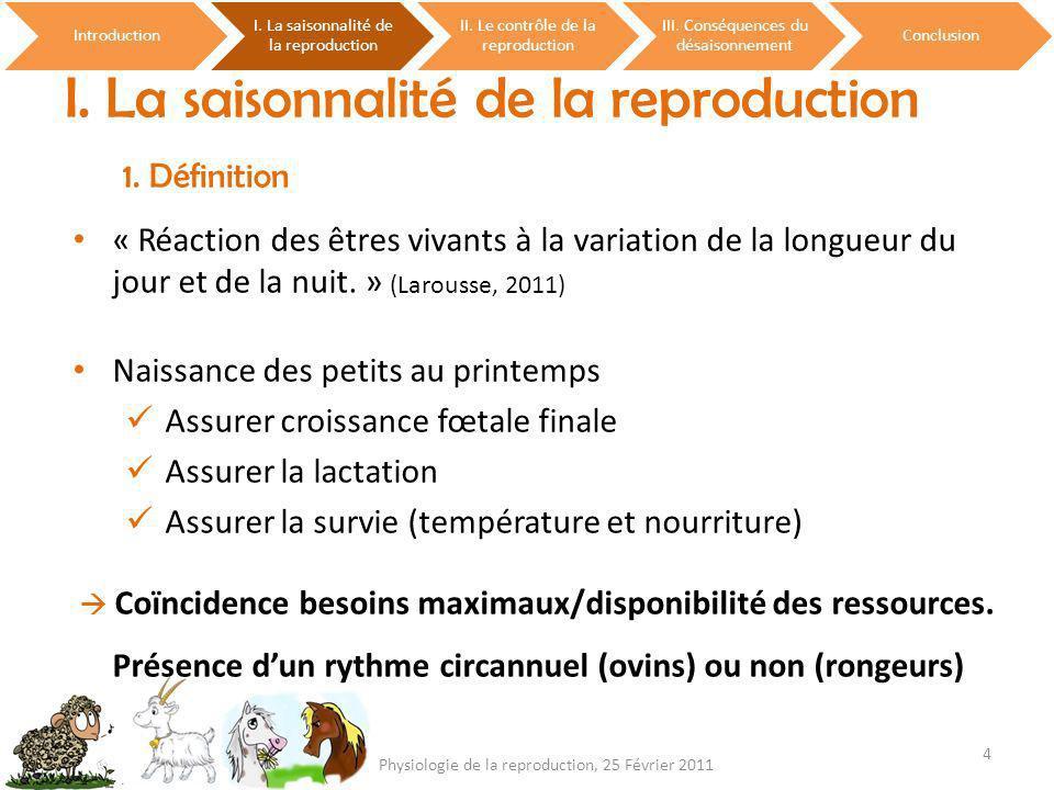 I. La saisonnalité de la reproduction 1. Définition Introduction I. La saisonnalité de la reproduction II. Le contrôle de la reproduction III. Conséqu
