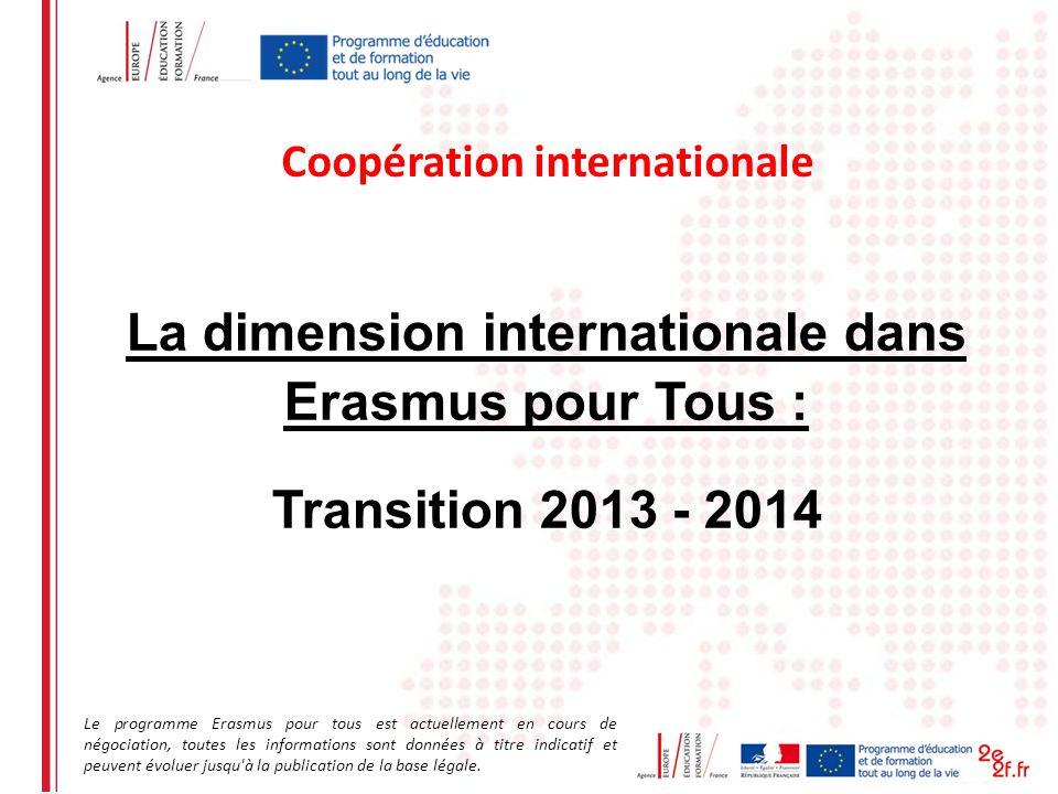 La dimension internationale dans Erasmus pour Tous : Transition 2013 - 2014 Coopération internationale Le programme Erasmus pour tous est actuellement