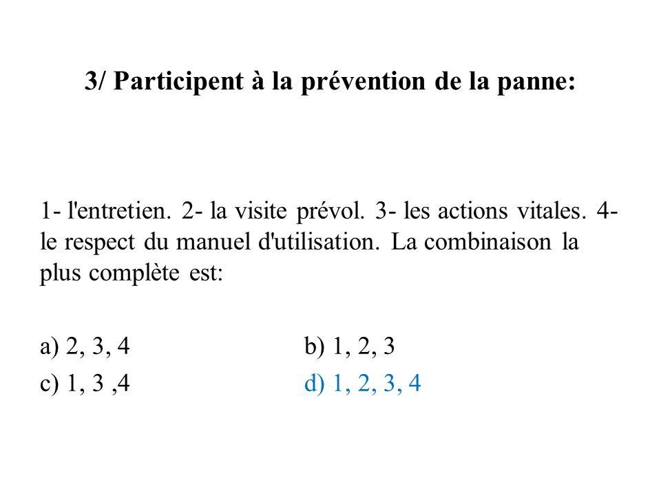 3/ Participent à la prévention de la panne: 1- l'entretien. 2- la visite prévol. 3- les actions vitales. 4- le respect du manuel d'utilisation. La com