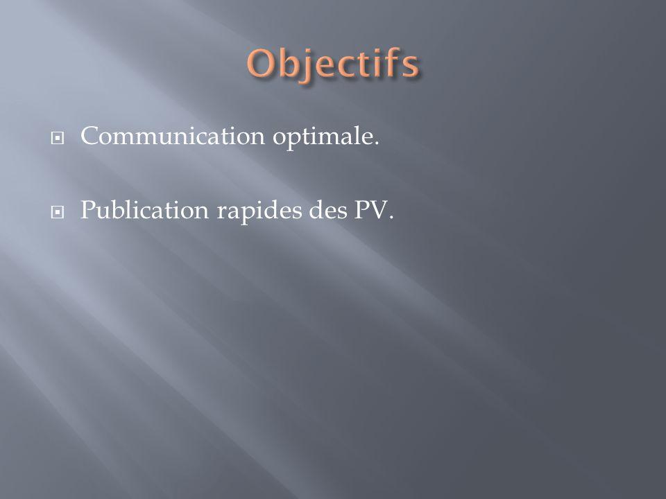 Publication rapides des PV.
