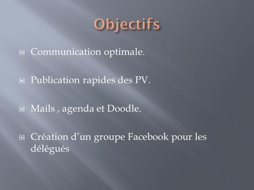 Communication optimale. Publication rapides des PV.