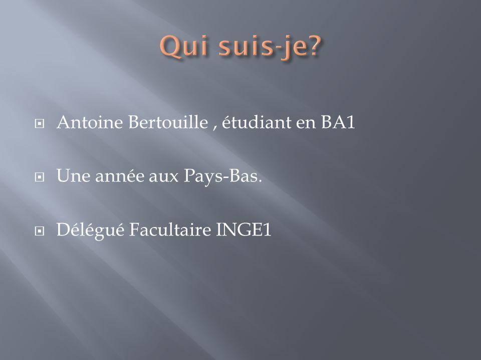 Antoine Bertouille, étudiant en BA1 Une année aux Pays-Bas. Délégué Facultaire INGE1