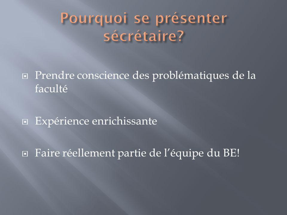Prendre conscience des problématiques de la faculté Expérience enrichissante Faire réellement partie de léquipe du BE!