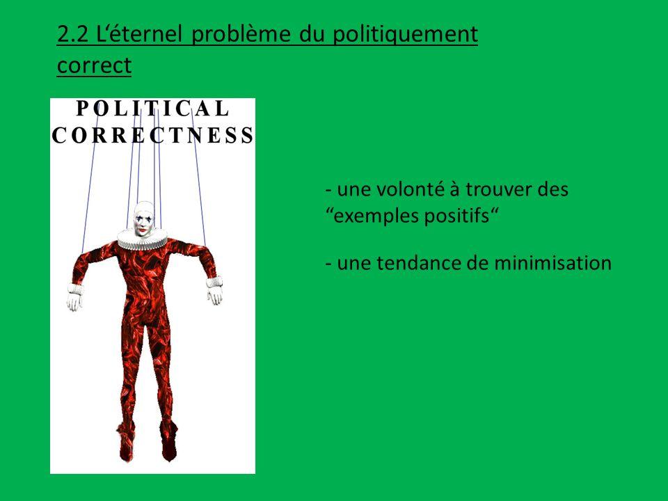 2.2 Léternel problème du politiquement correct - une volonté à trouver des exemples positifs - une tendance de minimisation