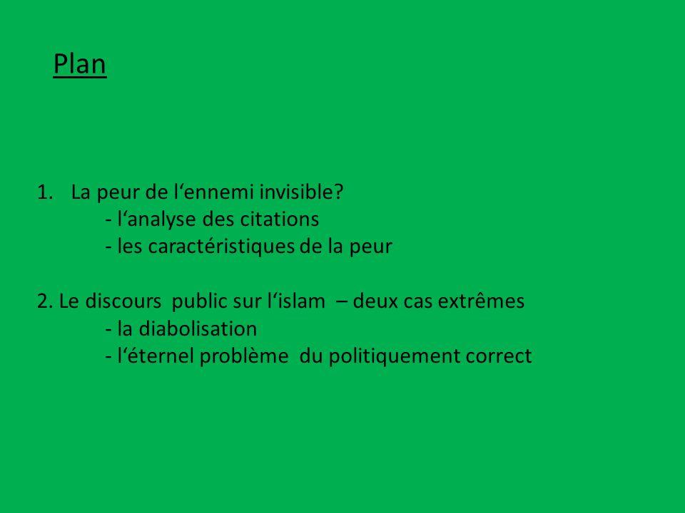 Plan 1.La peur de lennemi invisible? - lanalyse des citations - les caractéristiques de la peur 2. Le discours public sur lislam – deux cas extrêmes -