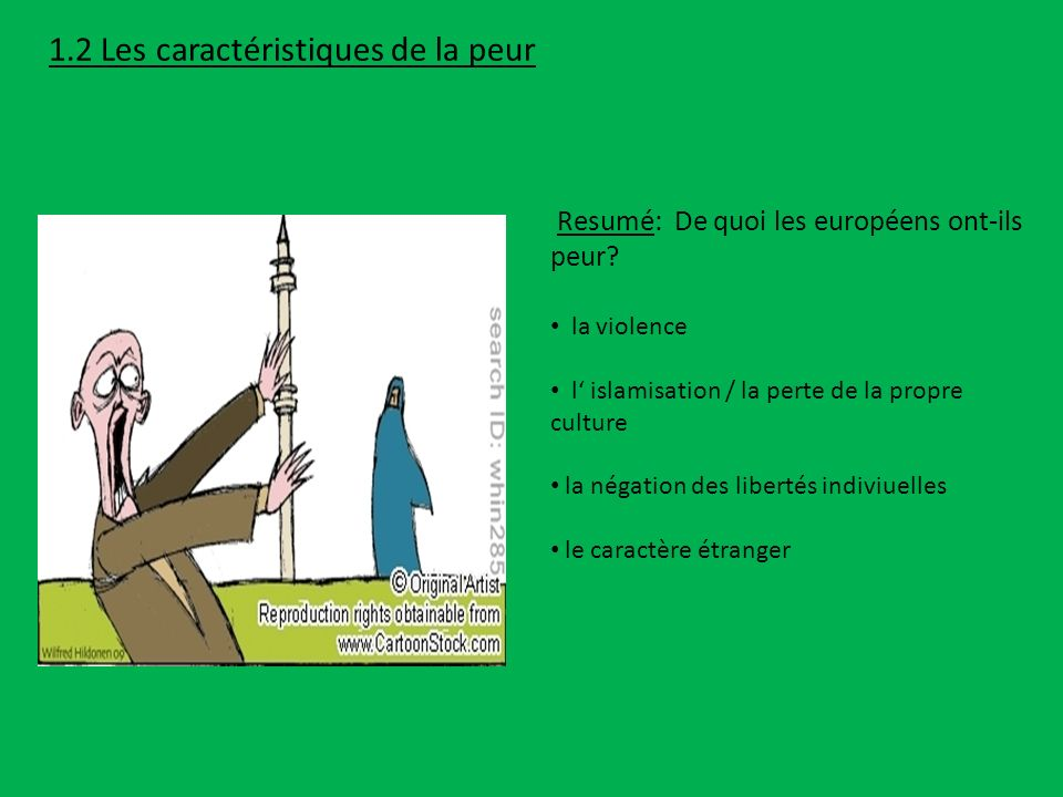 la violence l islamisation / la perte de la propre culture la négation des libertés indiviuelles le caractère étranger Resumé: De quoi les européens o