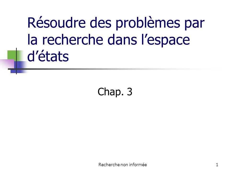 Recherche non informée1 Résoudre des problèmes par la recherche dans lespace détats Chap. 3