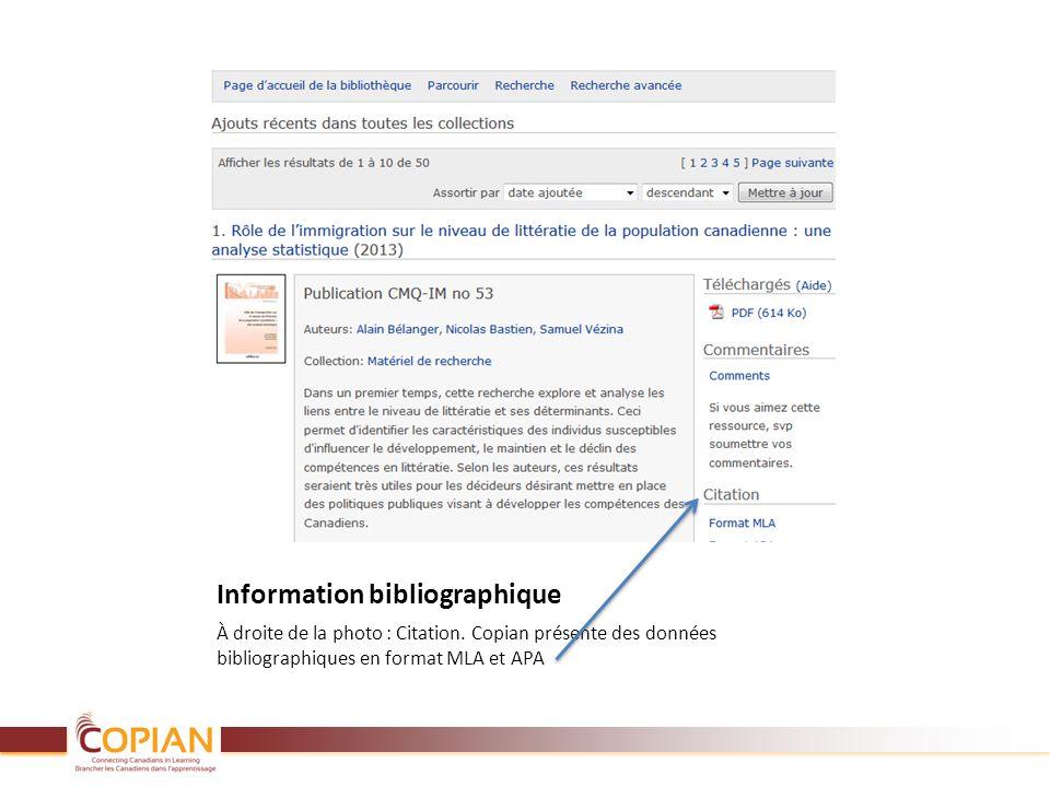 Information bibliographique À droite de la photo : Citation. Copian présente des données bibliographiques en format MLA et APA