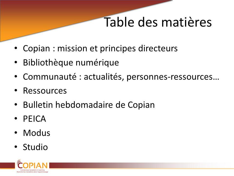 Table des matières Copian : mission et principes directeurs Bibliothèque numérique Communauté : actualités, personnes-ressources… Ressources Bulletin