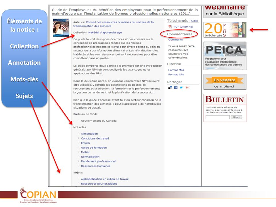 Éléments de la notice : CollectionAnnotationMots-clésSujets CollectionAnnotationMots-clésSujets