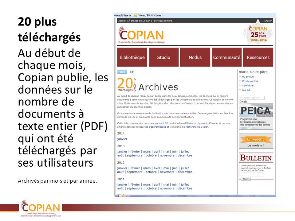 20 plus téléchargés Au début de chaque mois, Copian publie, les données sur le nombre de documents à texte entier (PDF) qui ont été téléchargés par se