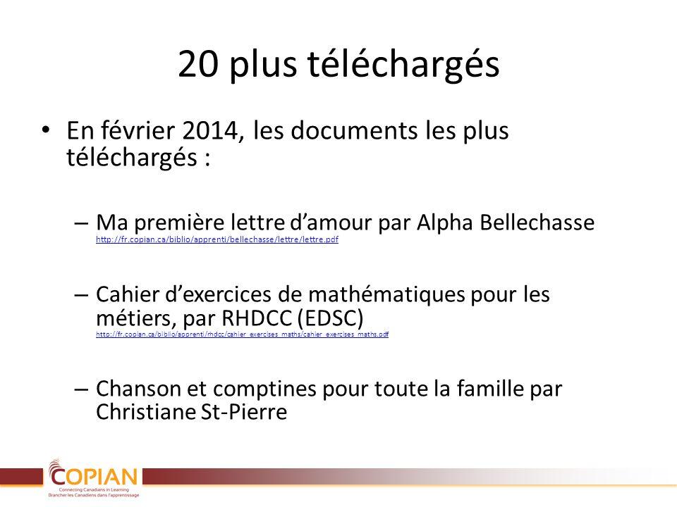 20 plus téléchargés En février 2014, les documents les plus téléchargés : – Ma première lettre damour par Alpha Bellechasse http://fr.copian.ca/biblio