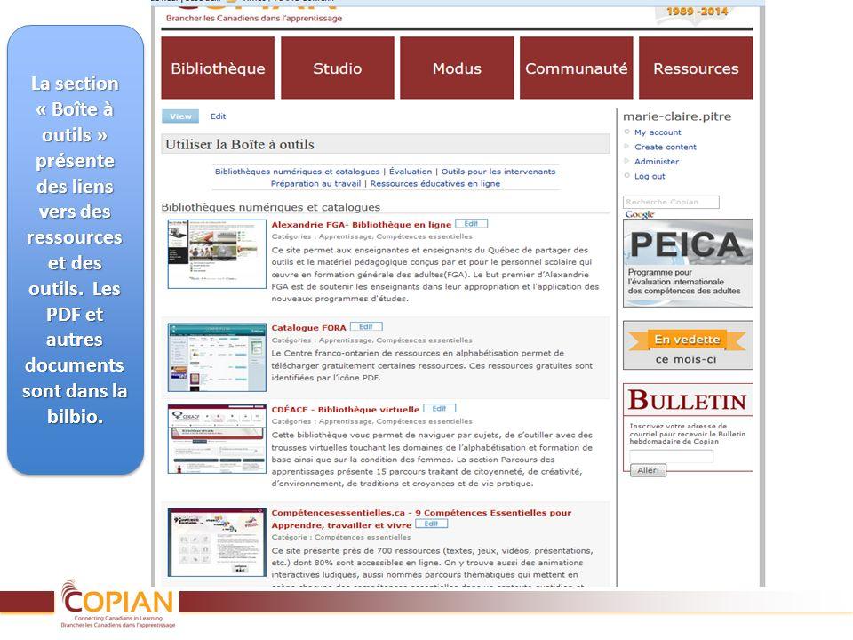 La section « Boîte à outils » présente des liens vers des ressources et des outils. Les PDF et autres documents sont dans la bilbio.