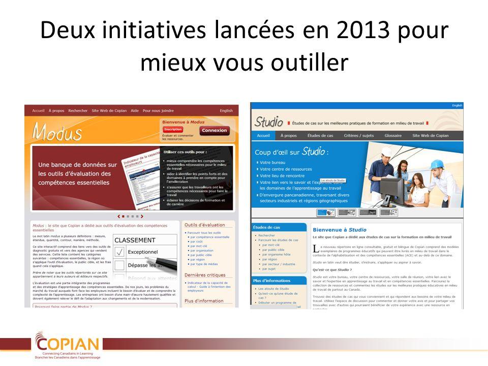 Deux initiatives lancées en 2013 pour mieux vous outiller