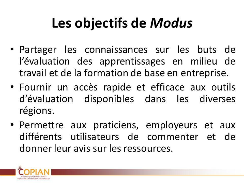 Les objectifs de Modus Partager les connaissances sur les buts de lévaluation des apprentissages en milieu de travail et de la formation de base en en