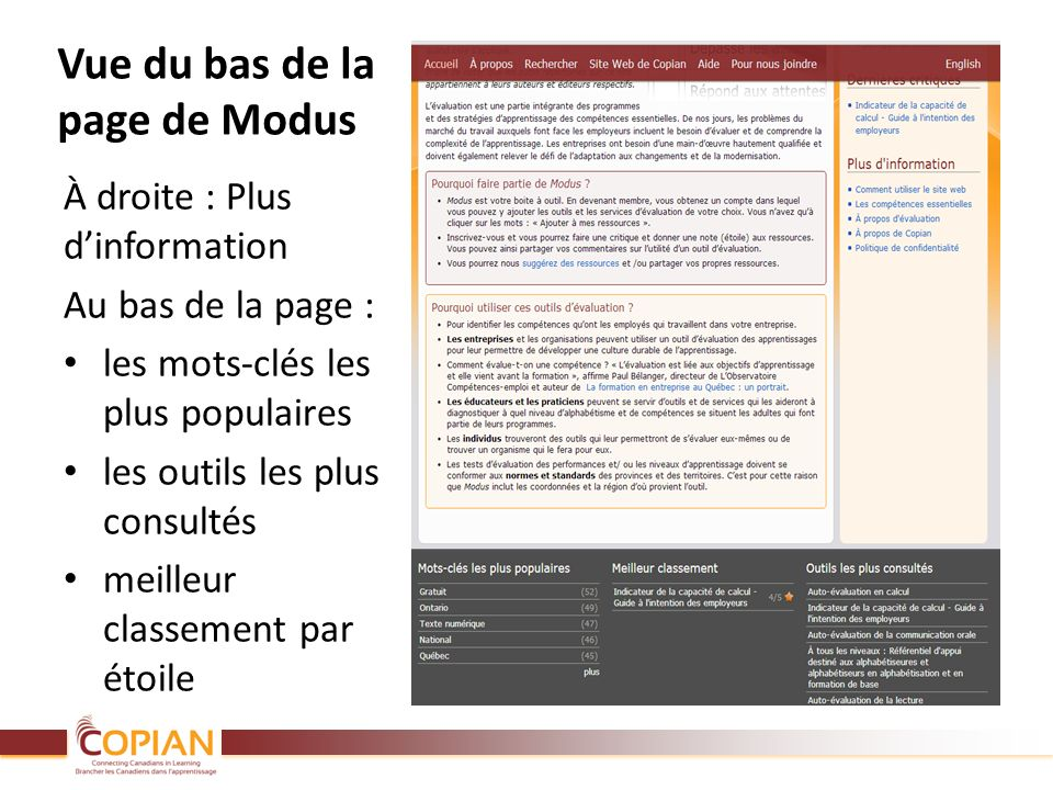 Vue du bas de la page de Modus À droite : Plus dinformation Au bas de la page : les mots-clés les plus populaires les outils les plus consultés meille