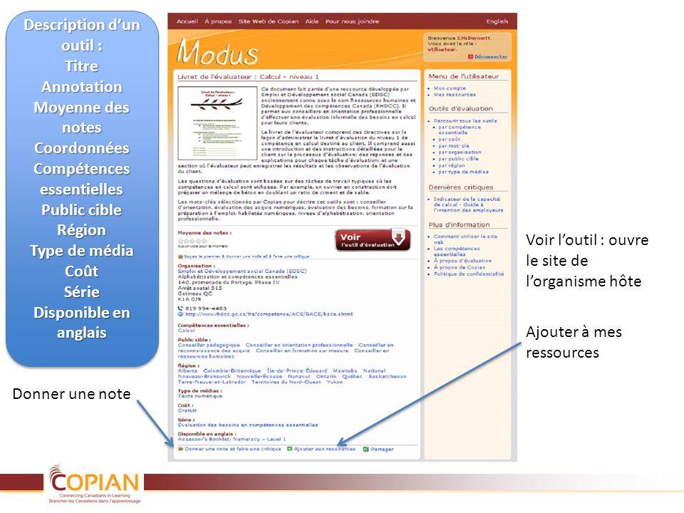 Donner une note Ajouter à mes ressources Description dun outil : TitreAnnotation Moyenne des notes Coordonnées Compétences essentielles Public cible R