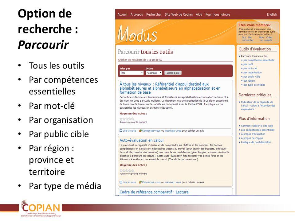 Option de recherche : Parcourir Tous les outils Par compétences essentielles Par mot-clé Par organisation Par public cible Par région : province et te