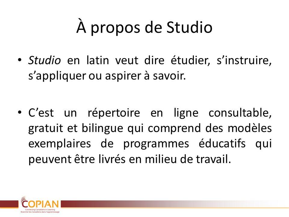 À propos de Studio Studio en latin veut dire étudier, sinstruire, sappliquer ou aspirer à savoir. Cest un répertoire en ligne consultable, gratuit et