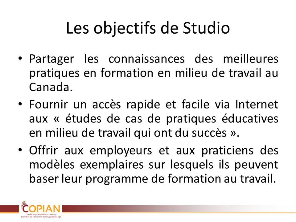 Les objectifs de Studio Partager les connaissances des meilleures pratiques en formation en milieu de travail au Canada. Fournir un accès rapide et fa