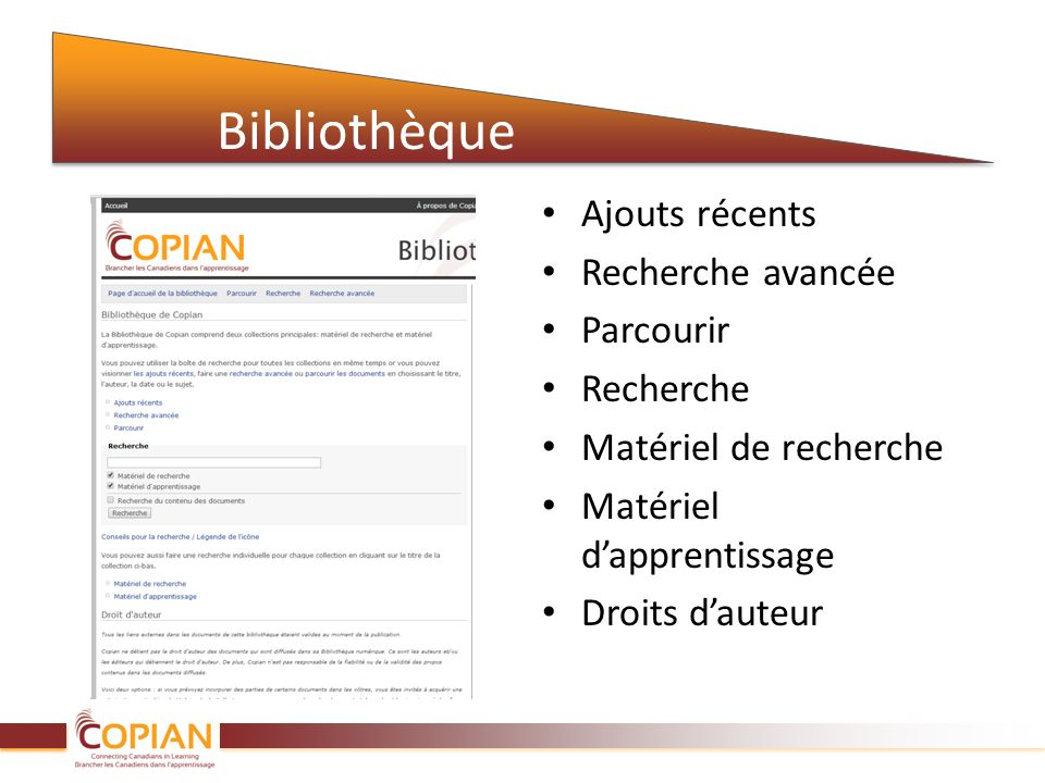 Ajouts récents à la bibliothèque Il sagit dune compilation des 50 dernières ressources à avoir été ajoutées à la Bibliothèque.