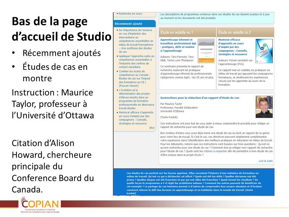 Bas de la page daccueil de Studio Récemment ajoutés Études de cas en montre Instruction : Maurice Taylor, professeur à lUniversité dOttawa Citation dA
