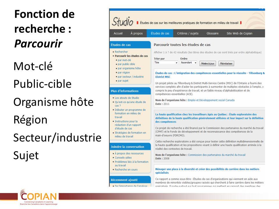 Fonction de recherche : Parcourir Mot-clé Public-cible Organisme hôte Région Secteur/industrie Sujet