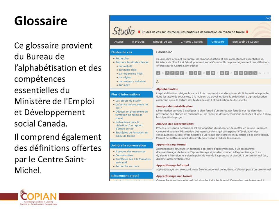 Glossaire Ce glossaire provient du Bureau de lalphabétisation et des compétences essentielles du Ministère de l'Emploi et Développement social Canada.