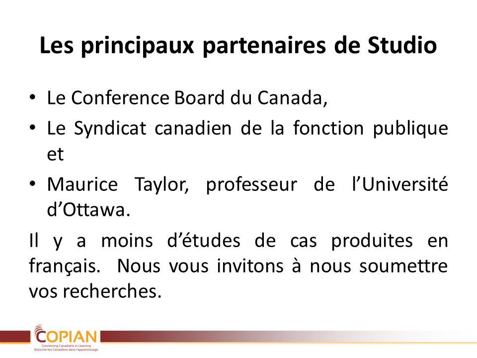 Les principaux partenaires de Studio Le Conference Board du Canada, Le Syndicat canadien de la fonction publique et Maurice Taylor, professeur de lUni