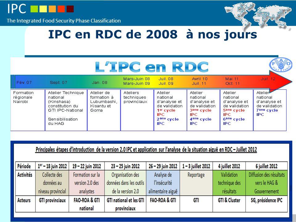 IPC The Integrated Food Security Phase Classification 2009 - Introduction de lIPC avec un projet régional IPC en RDC de 2008 à nos jours