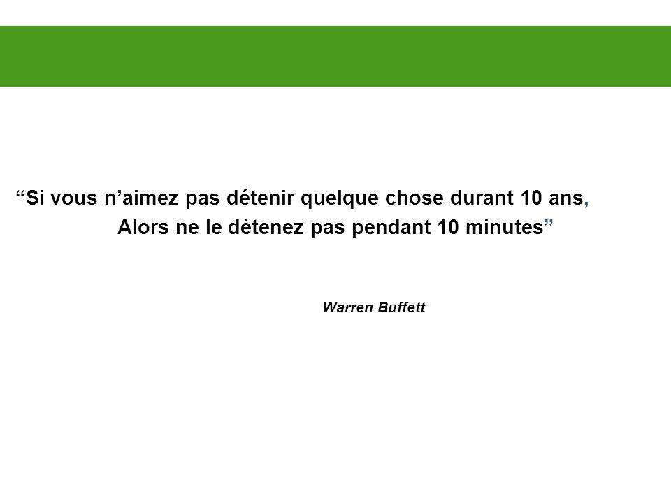 Si vous naimez pas détenir quelque chose durant 10 ans, Alors ne le détenez pas pendant 10 minutes Warren Buffett