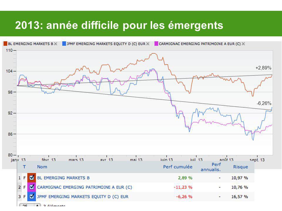 2013: année difficile pour les émergents +2,89% -6,26%