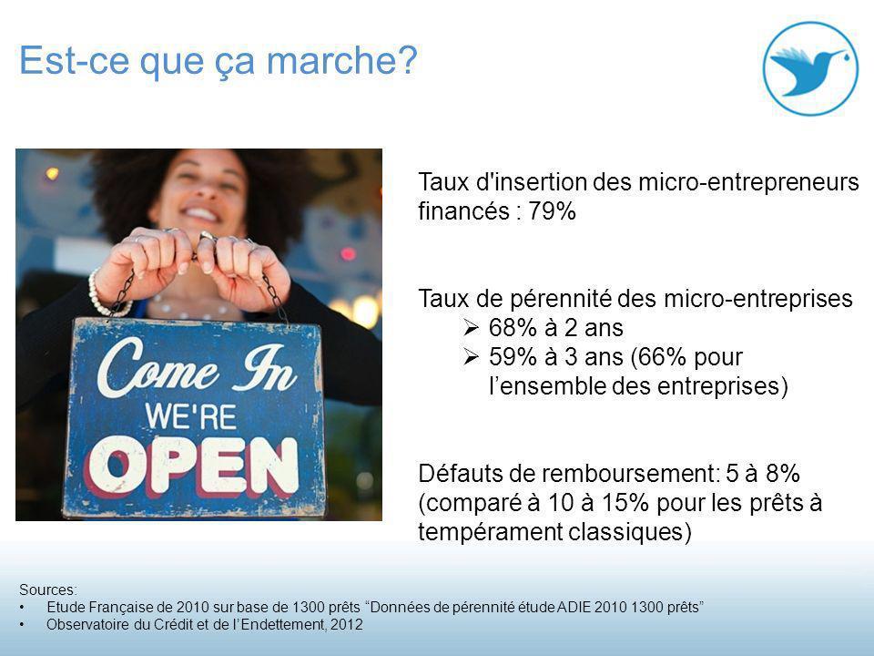 Taux d insertion des micro-entrepreneurs financés : 79% Taux de pérennité des micro-entreprises 68% à 2 ans 59% à 3 ans (66% pour lensemble des entreprises) Défauts de remboursement: 5 à 8% (comparé à 10 à 15% pour les prêts à tempérament classiques) Est-ce que ça marche.