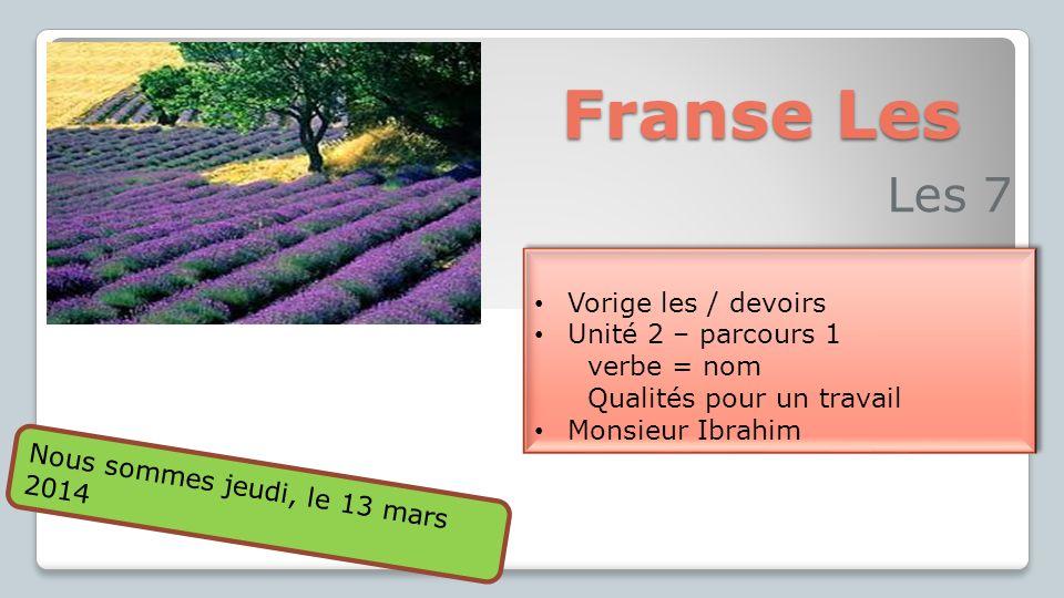Vorige les Unité 1 - dialogen Unité 2 - prologue Monsieur Ibrahim Devoirs En ligne: exercices 1 (exercice 1 - unité 2 )exercice 1 - unité 2 Werkboek: exercice 1 (p.