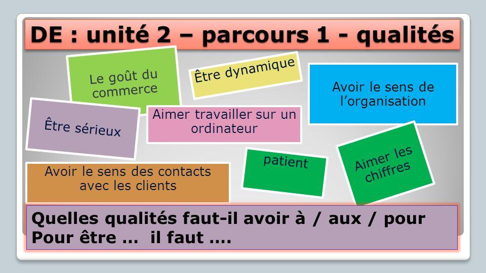 DE : unité 2 – parcours 1 – p.32/33 Questions: Où travaillez-vous.