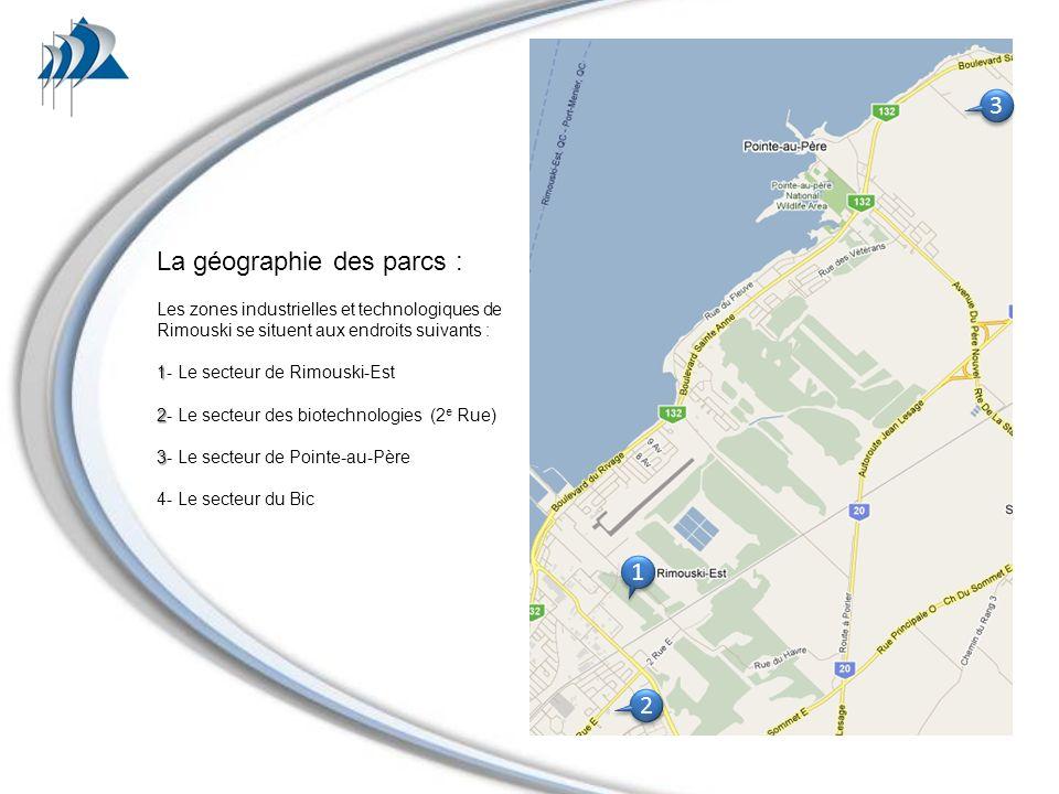 La géographie des parcs : Les zones industrielles et technologiques de Rimouski se situent aux endroits suivants : 1 1- Le secteur de Rimouski-Est 2 2- Le secteur des biotechnologies (2 e Rue) 3 3- Le secteur de Pointe-au-Père 4- Le secteur du Bic 1 1 3 3 2 2