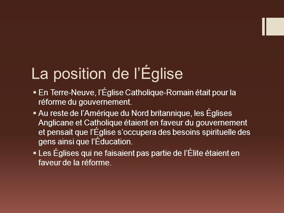 La position de lÉglise En Terre-Neuve, lÉglise Catholique-Romain était pour la réforme du gouvernement.