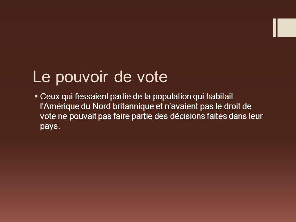 Le pouvoir de vote Ceux qui fessaient partie de la population qui habitait lAmérique du Nord britannique et navaient pas le droit de vote ne pouvait pas faire partie des décisions faites dans leur pays.